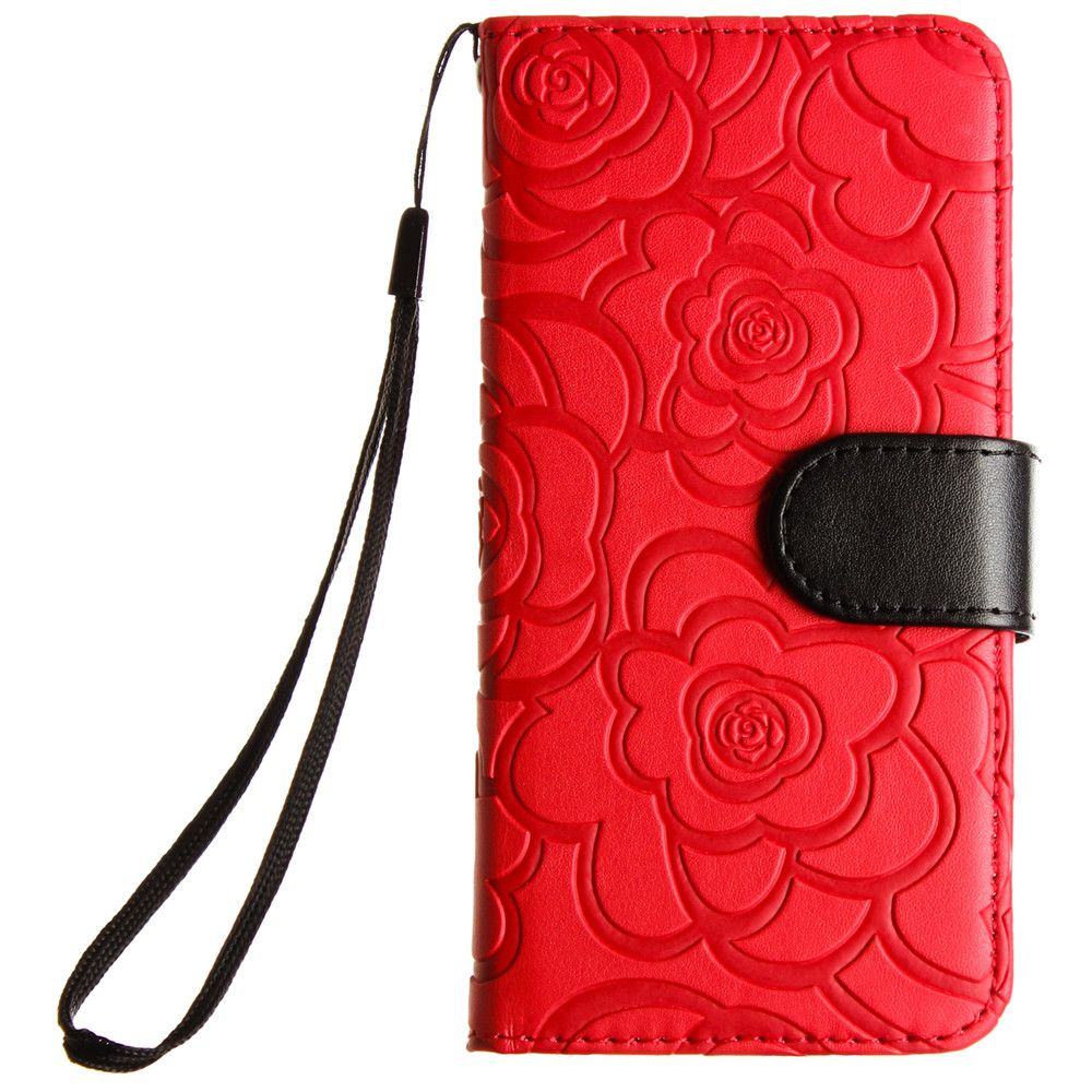 Apple iPhone 8 -  Embossed Flower Design Folding Wallet Case with Wristlet strap, Red/Black
