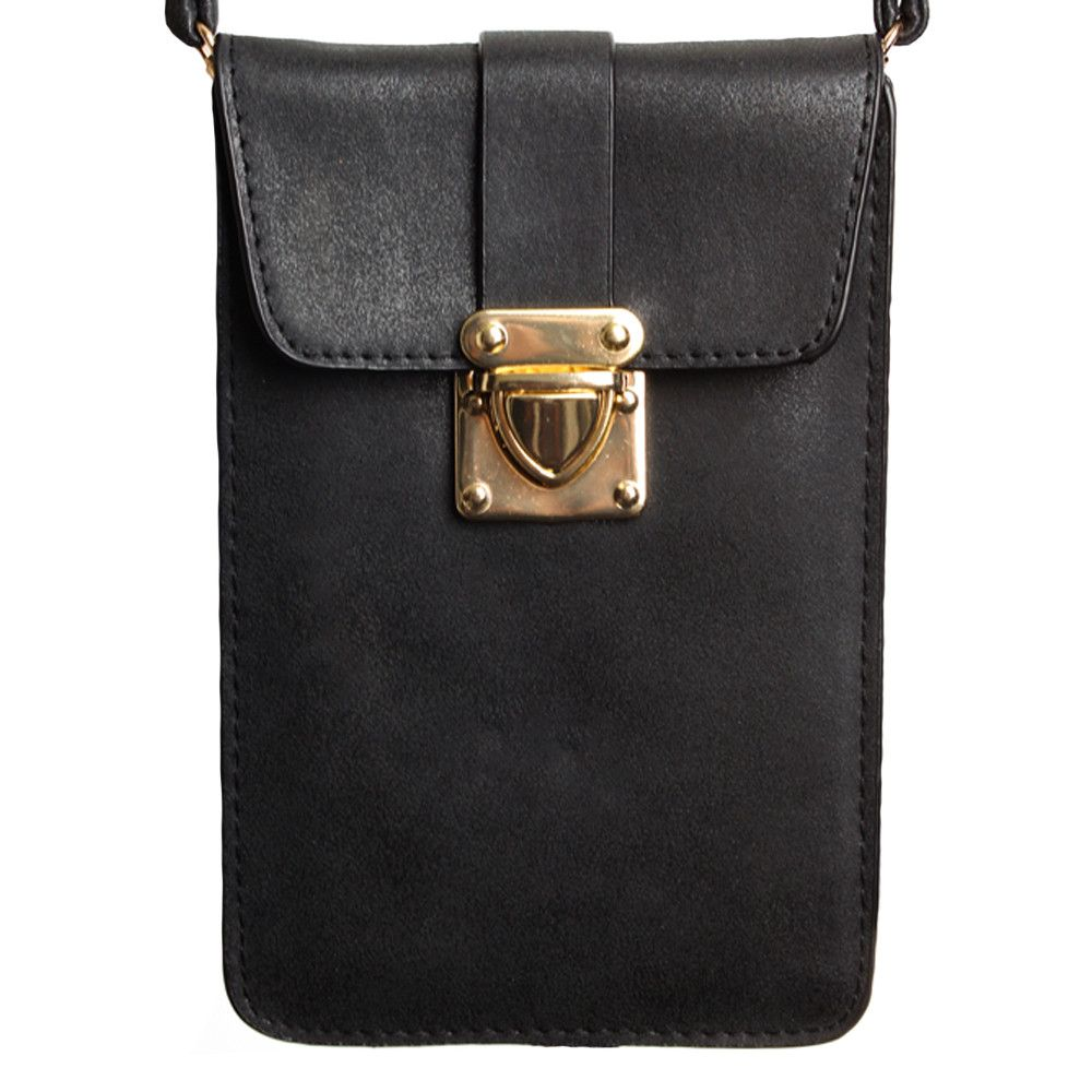 Apple iPhone 8 -  Soft Leather Crossbody Shoulder Bag, Black
