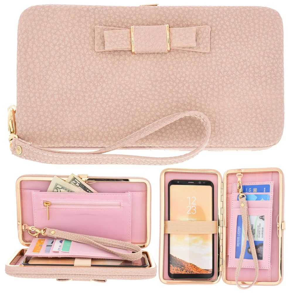 Apple iPhone 8 -  Bow clutch wallet with hideaway wristlet, Light Pink