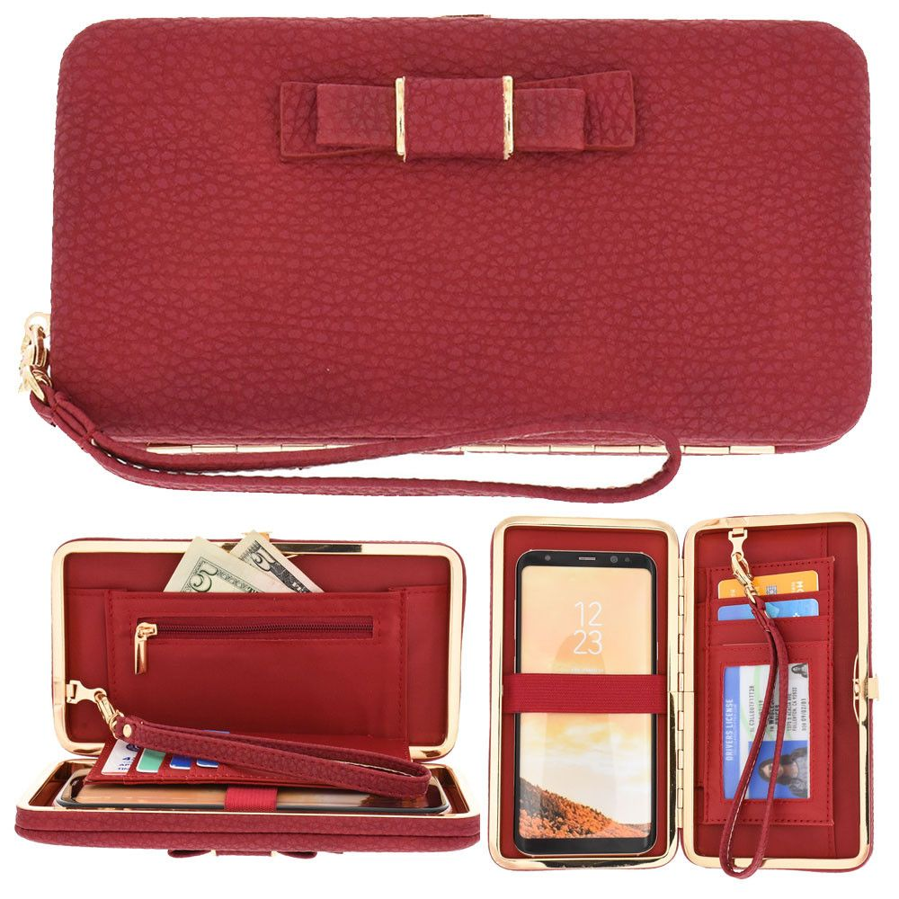 Apple iPhone 8 -  Bow clutch wallet with hideaway wristlet, Red