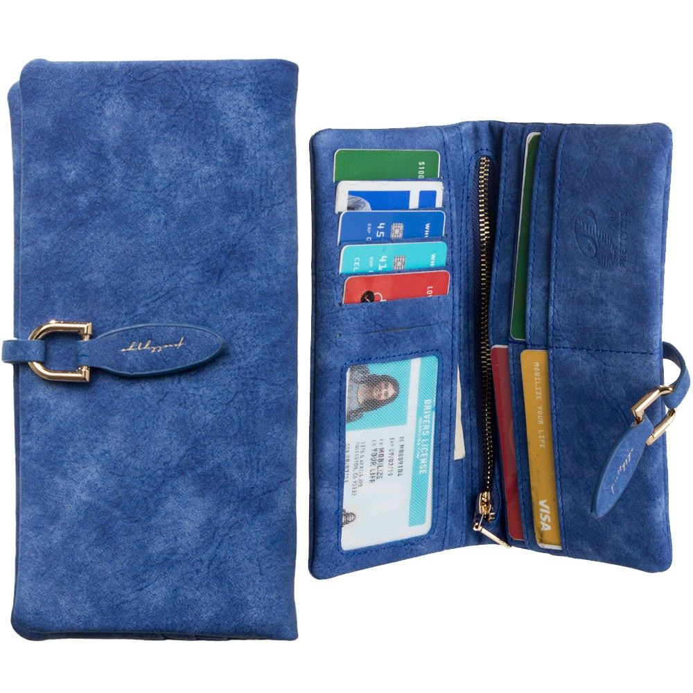 Apple iPhone 8 -  Slim Suede Leather Clutch Wallet, Blue
