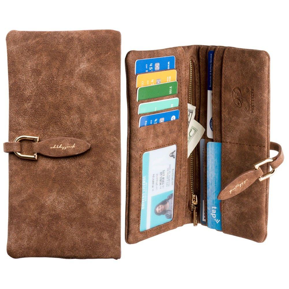 Apple iPhone 8 -  Slim Suede Leather Clutch Wallet, Dark Brown