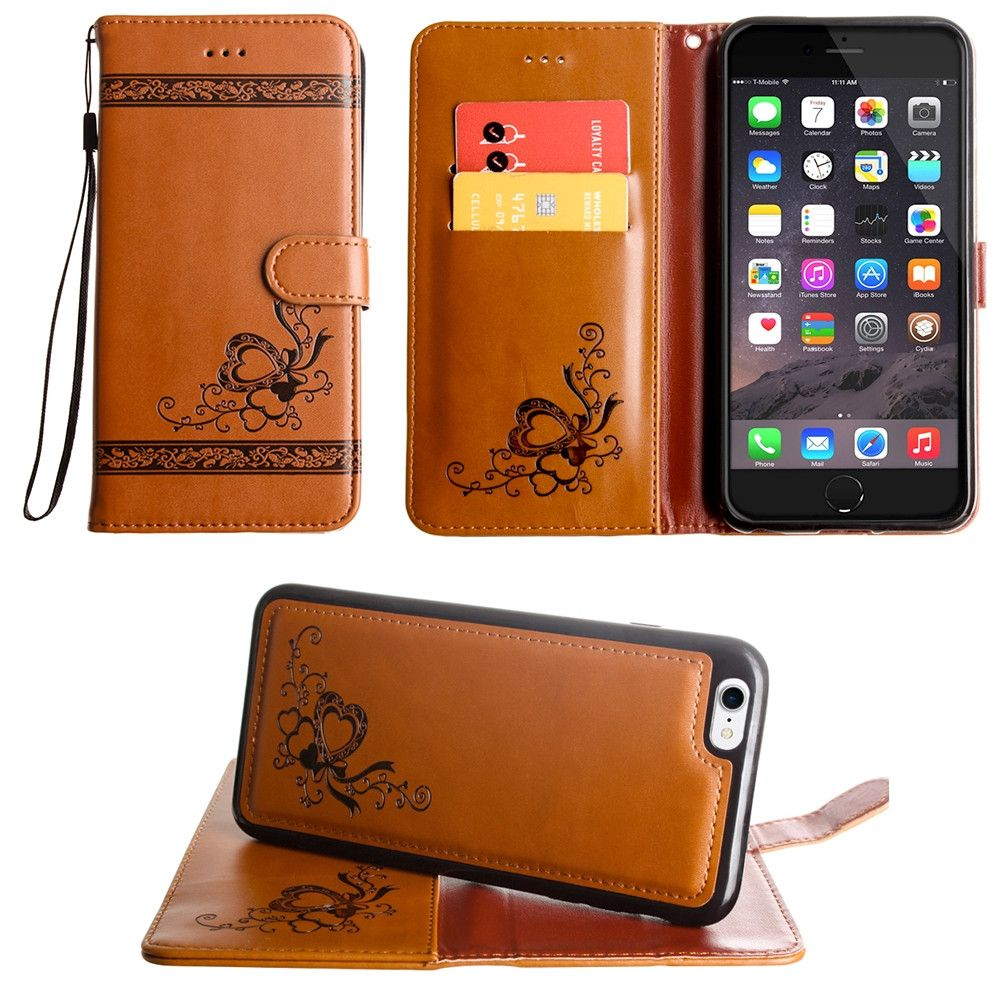 Apple iPhone 8 -  Embossed heart vine design wallet case with detachable matching case, Brown