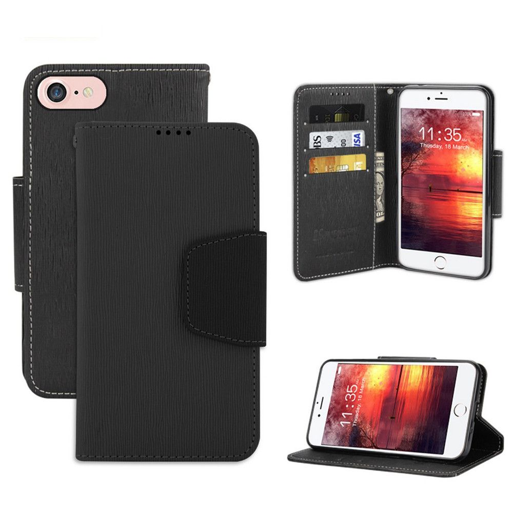Apple iPhone 8 -  Infolio Leather Folding Wallet Phone Case, Black