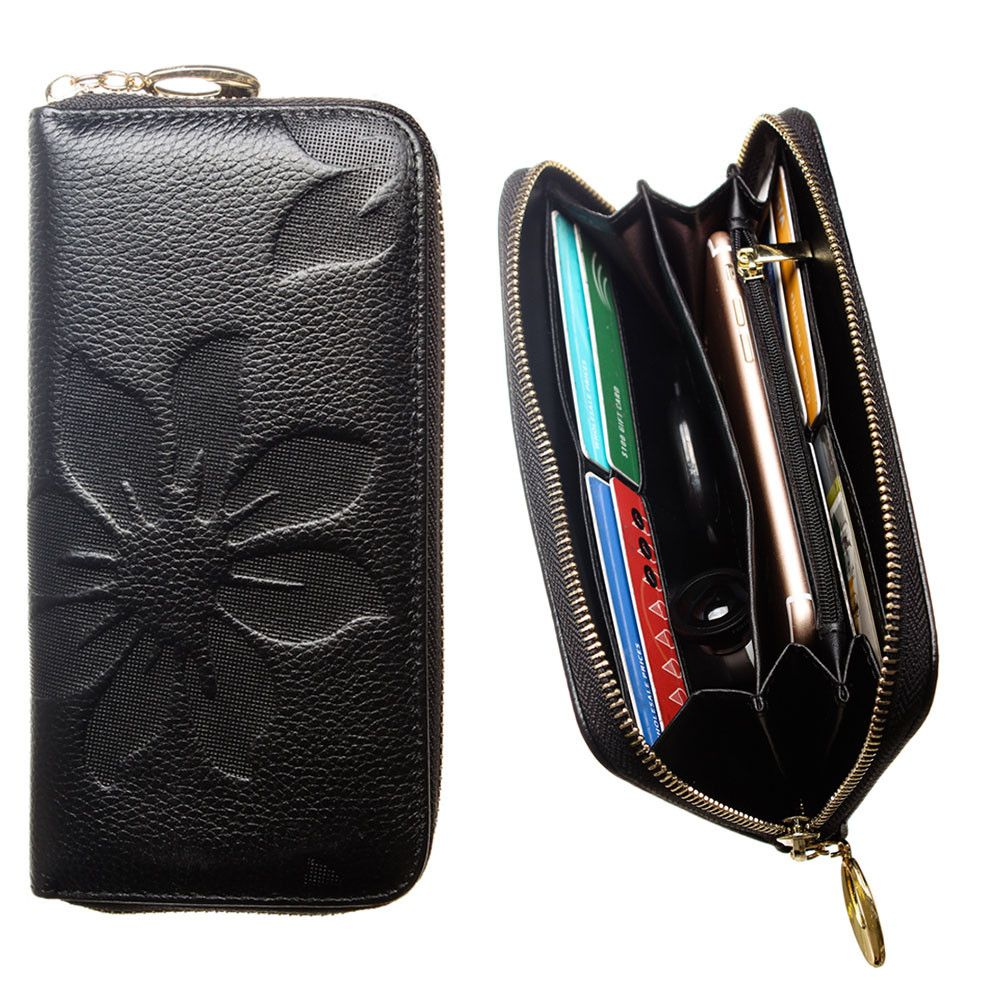 Apple iPhone 8 -  Genuine Leather Embossed Flower Design Clutch, Black