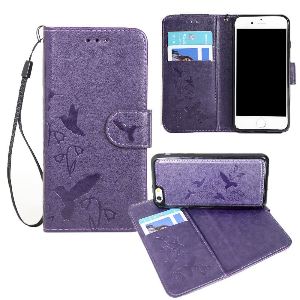 Apple iPhone 8 -  Embossed Humming Bird Design Wallet Case with Matching Removable Case and Wristlet, Purple