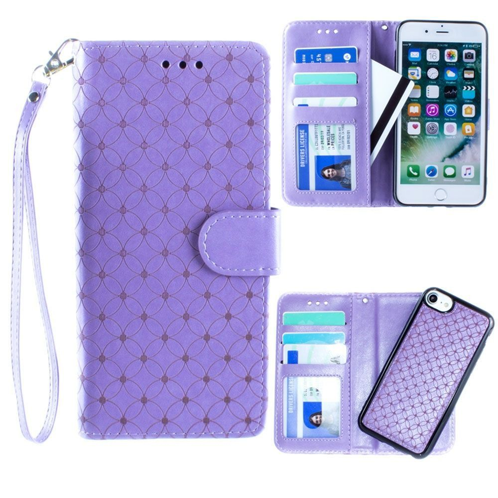 Apple iPhone 8 -  Diamond pattern laser-cut wallet with detachable matching slim case and wristlet, Lavender