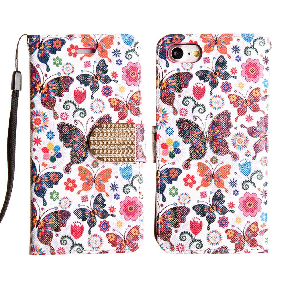 Apple iPhone 8 -  Rainbow Butterflies Shimmering Folding Phone Wallet, Multi-color/Black