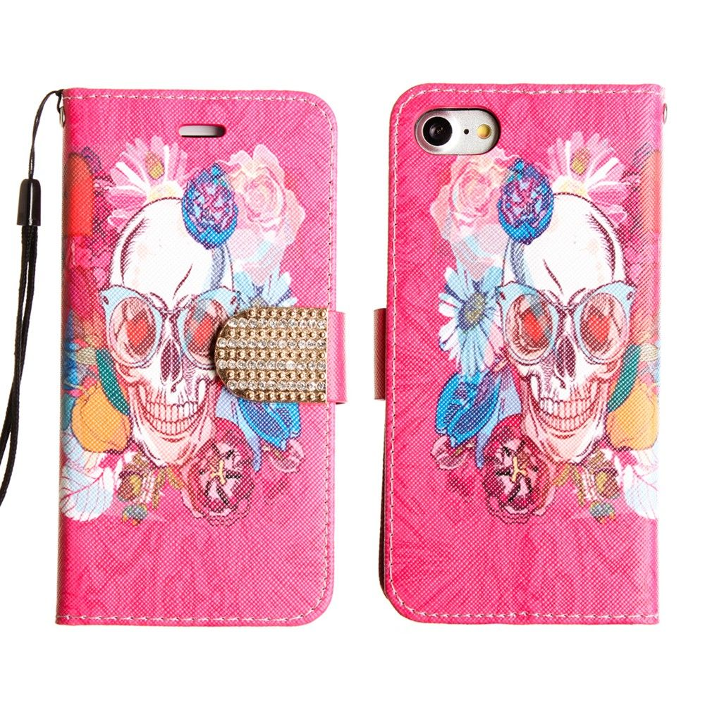 Apple iPhone 8 -  Fashion hip Skull Shimmering Folding Phone Wallet, Multi-color