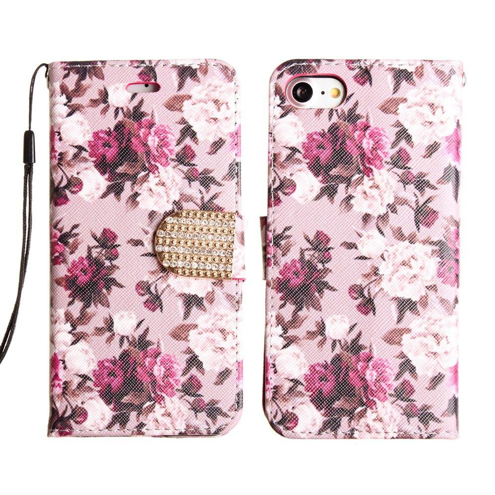 Apple iPhone 8 -  Romantic Rose Shimmering Folding Phone Wallet, Pink/White