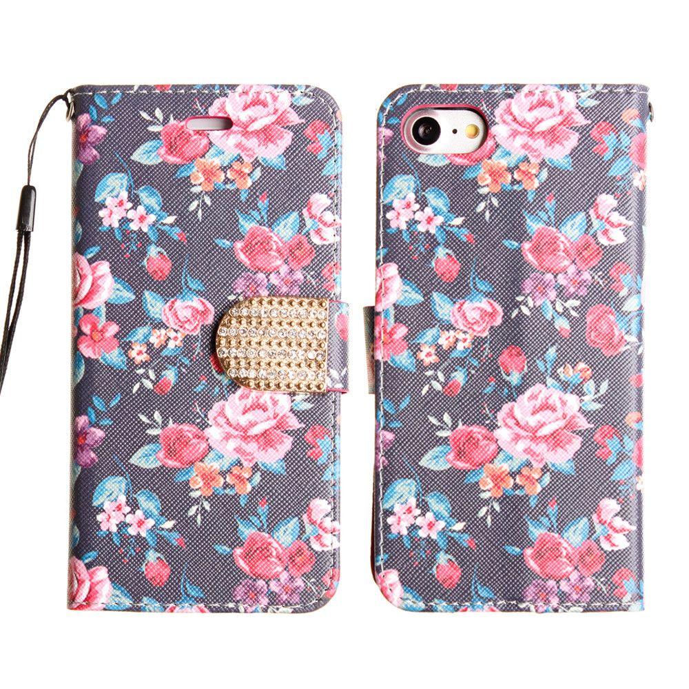 Apple iPhone 8 -  Romantic Rose Shimmering Folding Phone Wallet, Multi-color/Black