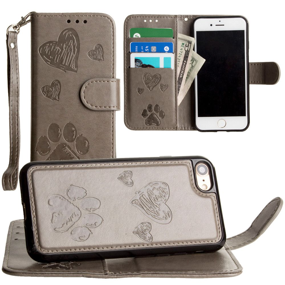 Apple iPhone 8 -  Puppy Love Wallet with Matching Detachable Magnetic Phone Case and Wristlet, Gray