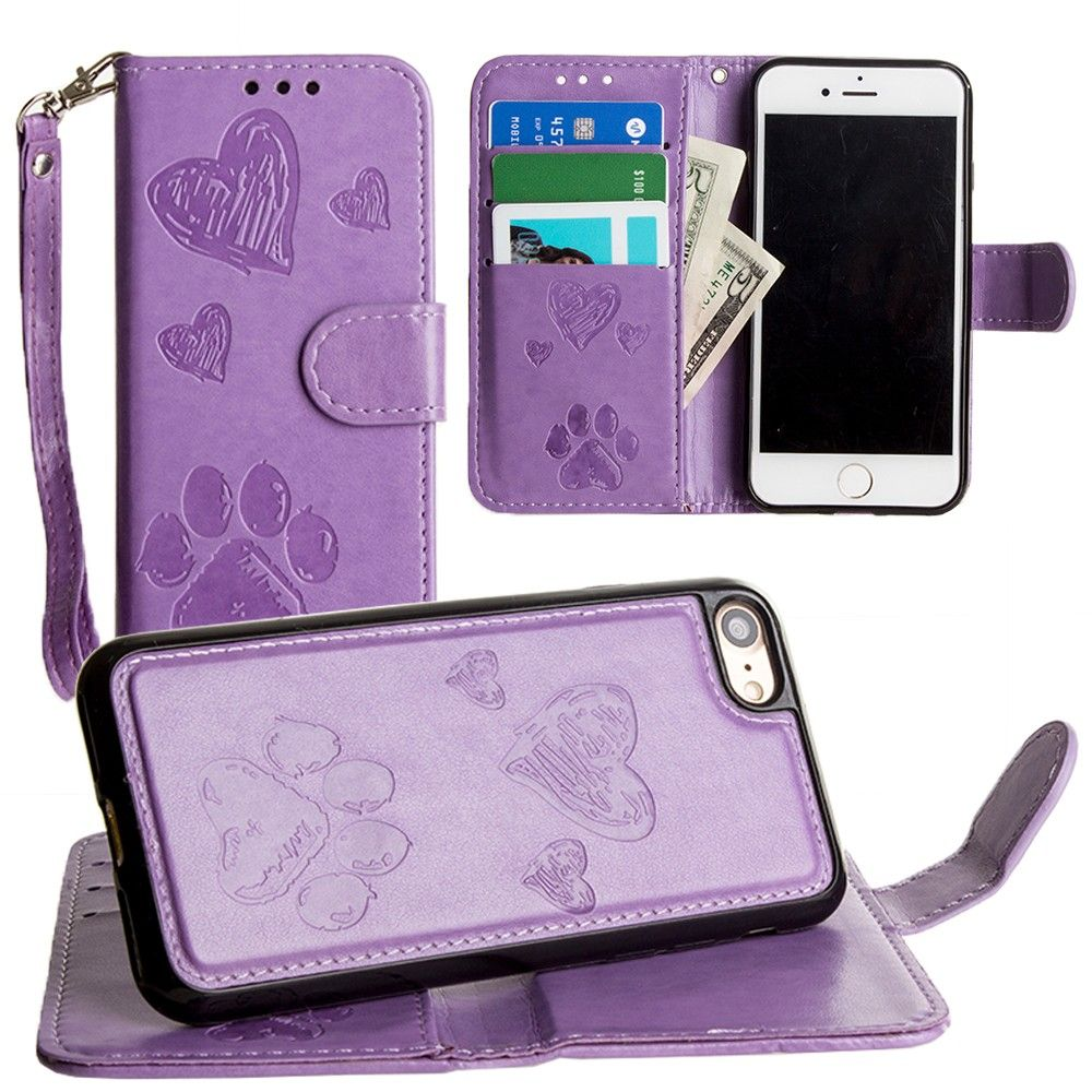 Apple iPhone 8 -  Puppy Love Wallet with Matching Detachable Magnetic Phone Case and Wristlet, Lavender