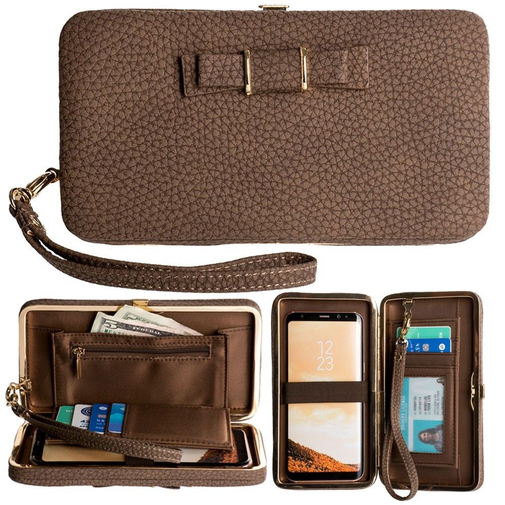 Apple iPhone 8 -  Bow clutch wallet with hideaway wristlet, Brown