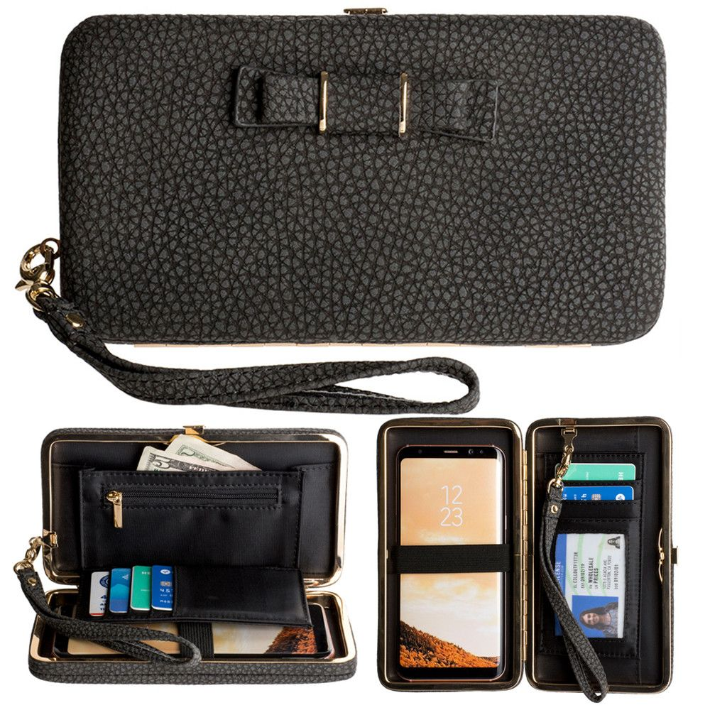 Apple iPhone 8 -  Bow clutch wallet with hideaway wristlet, Black