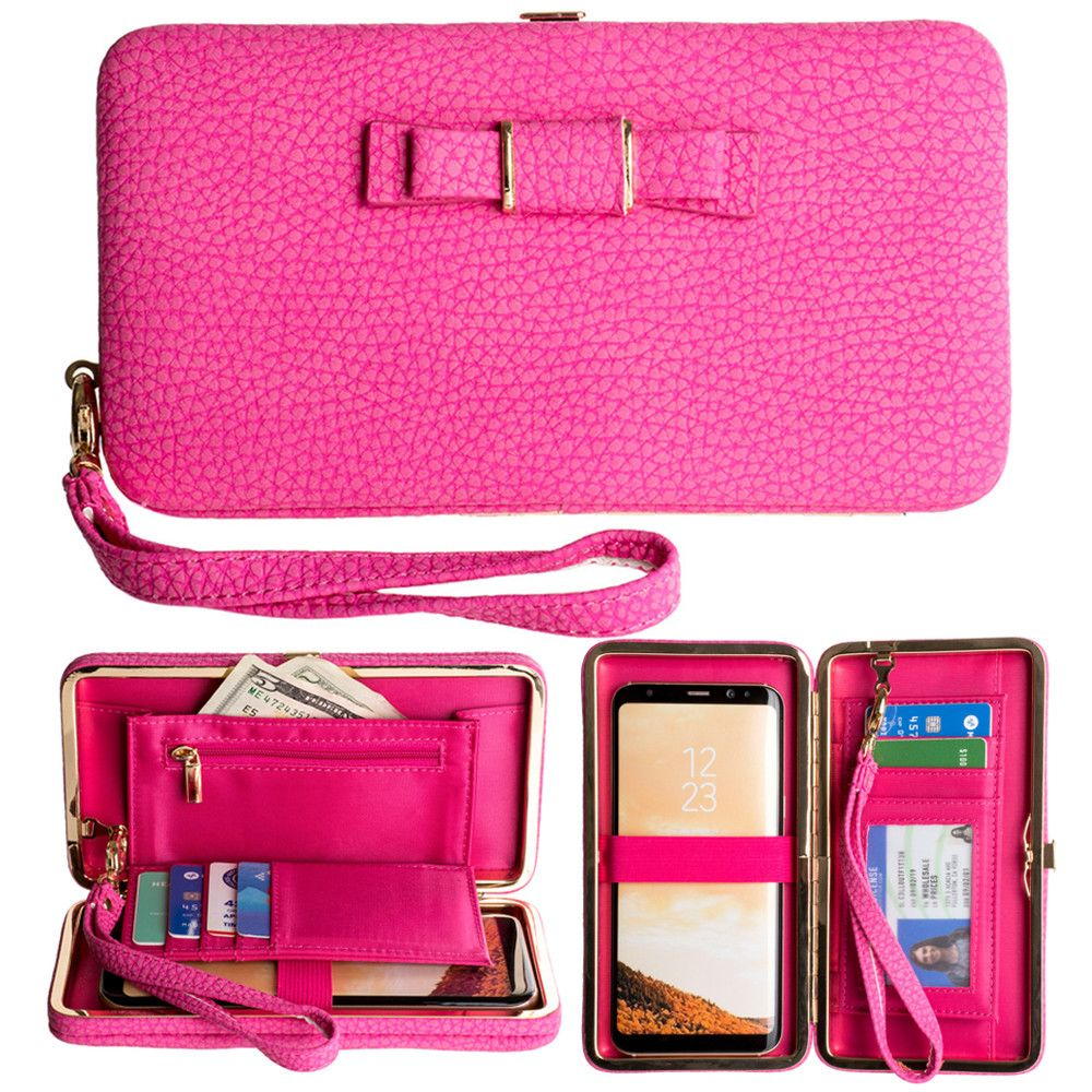 Apple iPhone 8 -  Bow clutch wallet with hideaway wristlet, Pink