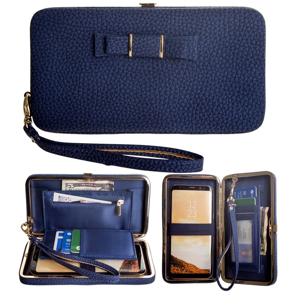 Apple iPhone 8 -  Bow clutch wallet with hideaway wristlet, Navy