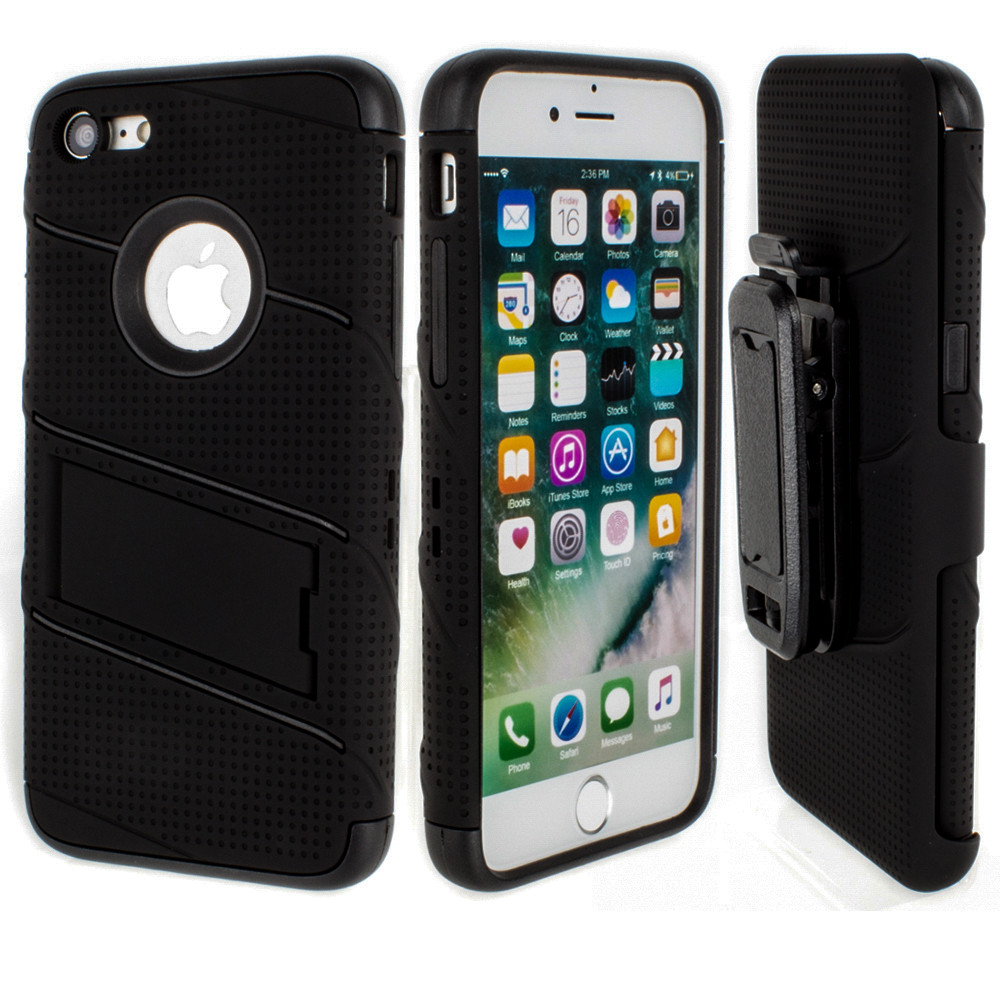 Apple iPhone 7/8 - RoBolt Heavy-Duty Rugged Case and Holster Combo, Black