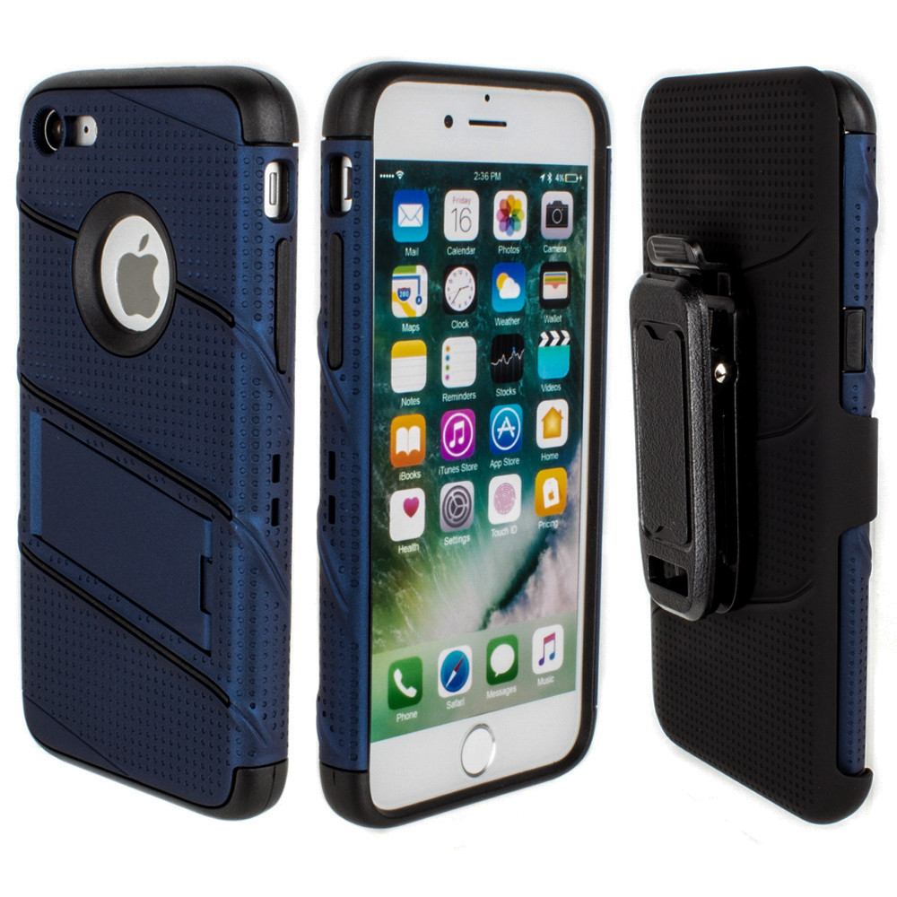 Apple iPhone 7/8 - RoBolt Heavy-Duty Rugged Case and Holster Combo, Navy Blue/Black