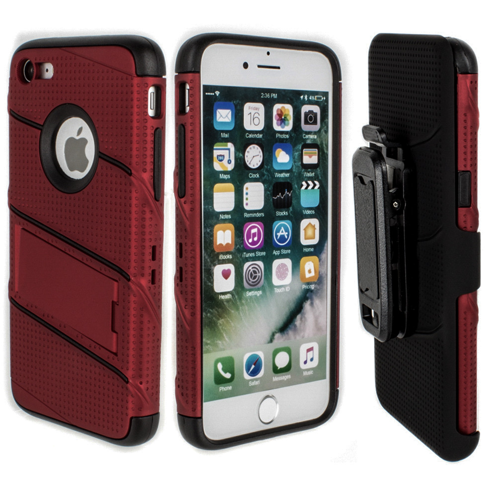 Apple iPhone 7/8 - RoBolt Heavy-Duty Rugged Case and Holster Combo, Red/Black