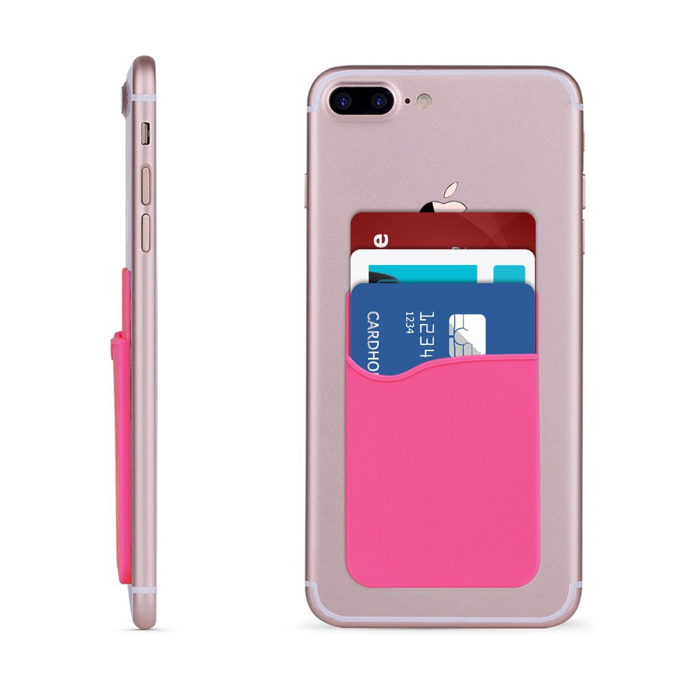 Apple iPhone 8 -  Rubber Silicone Stick-on Card Pocket, Light Pink