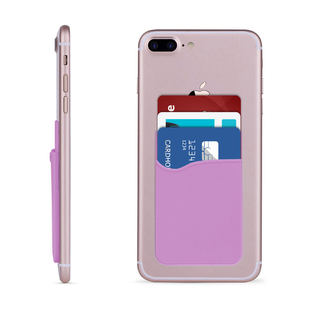 Apple iPhone 8 -  Rubber Silicone Stick-on Card Pocket, Purple