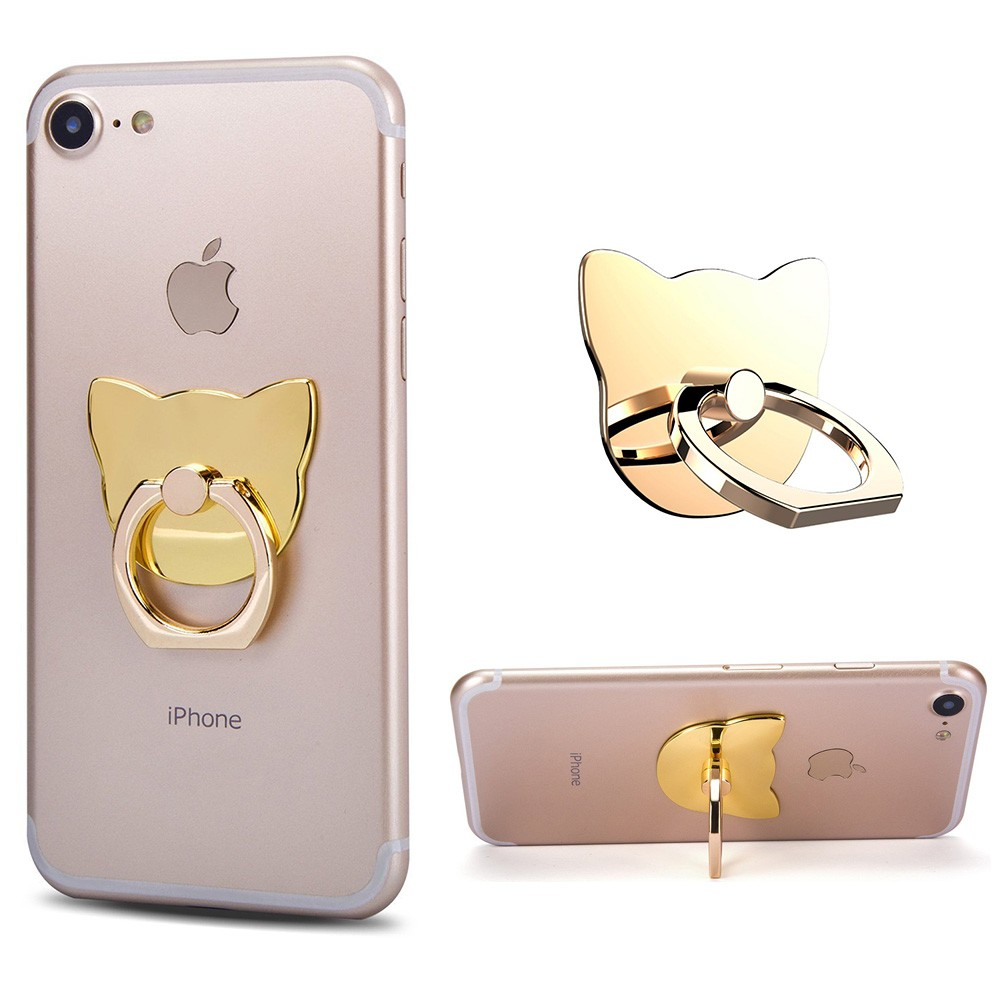 Apple iPhone 8 -  Universal Metallic Cat Design Ring Grip and Stand Holder, Gold