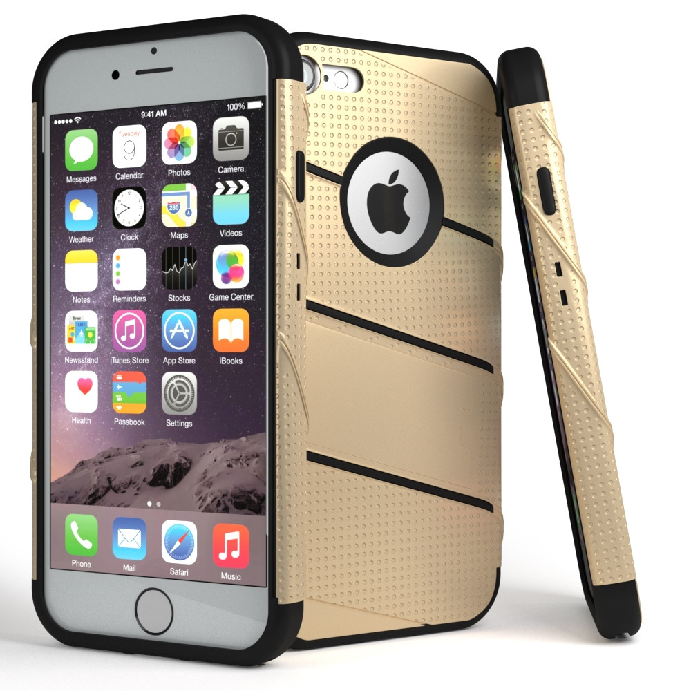 Apple iPhone 7/8 - RoBolt Heavy-Duty Rugged Case and Holster Combo, Gold/Black