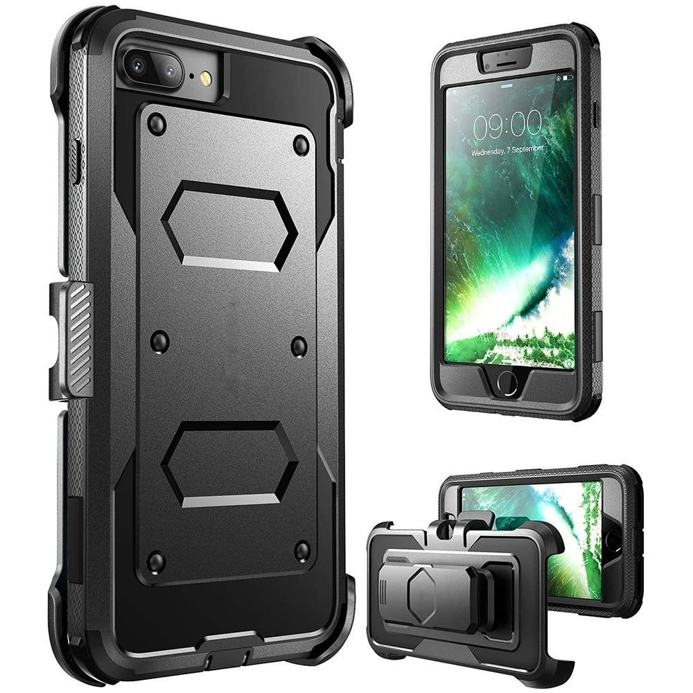 Apple iPhone 8 -  Triple Protection Rugged Case and Holster Shell Combo, Black