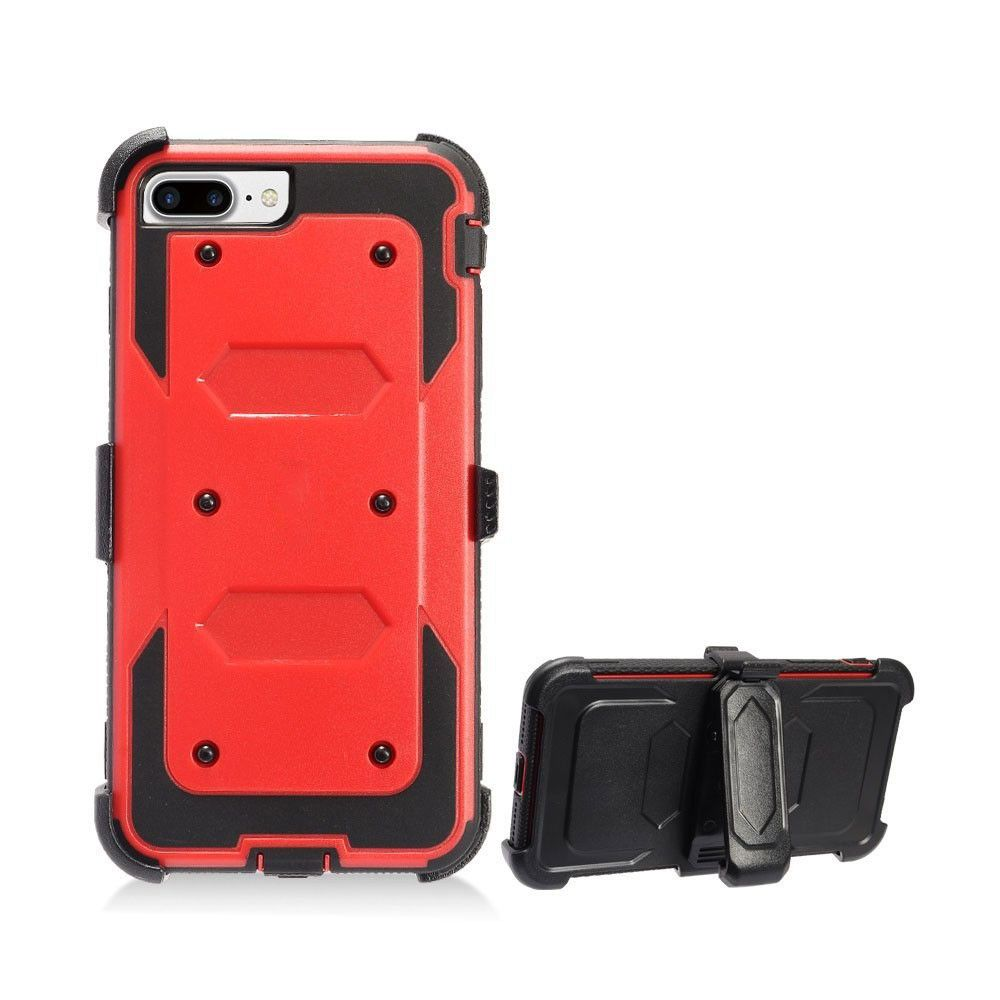 Apple iPhone 8 -  Triple Protection Rugged Case and Holster Shell Combo, Red/Black