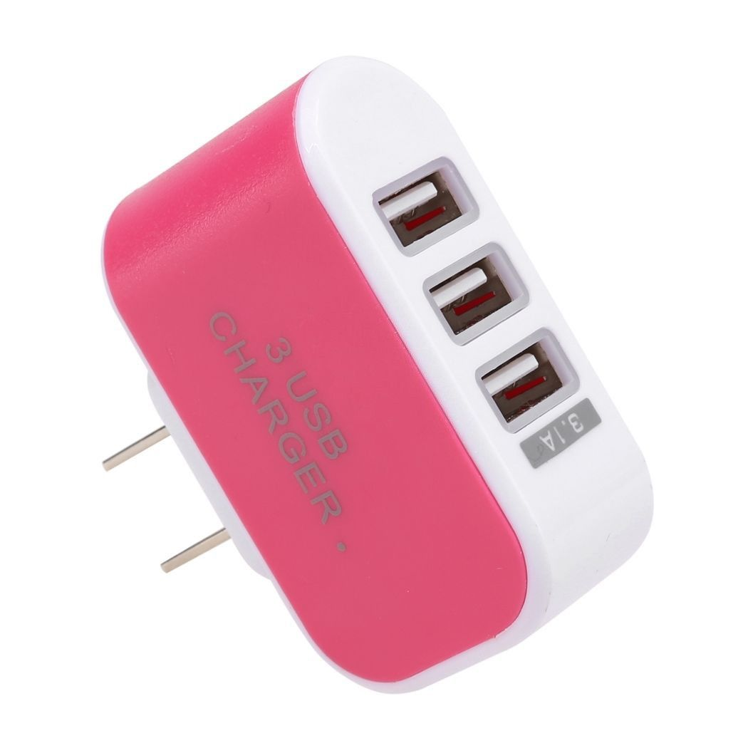 Apple iPhone 8 -  3.1 Amp 3 USB Port Home/Travel Wall Charger Adapter, Hot Pink