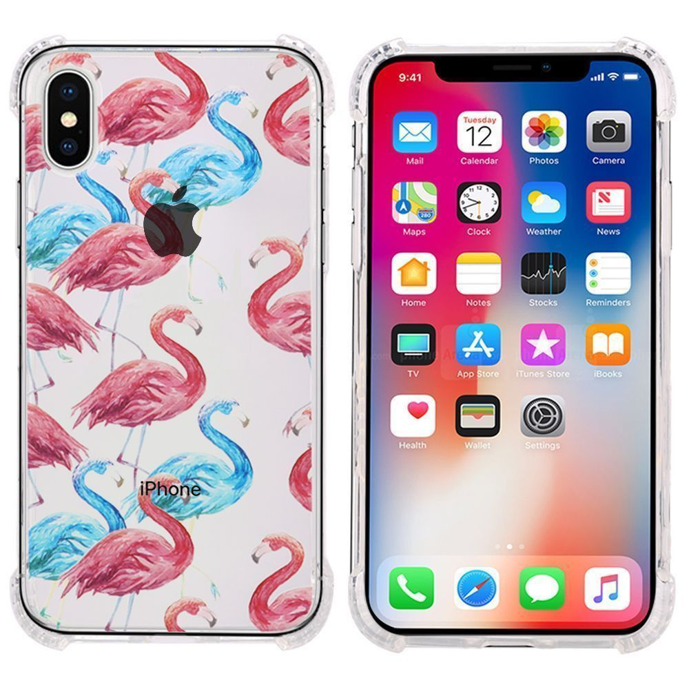 Apple iPhone X -  Flamingo Design Bumper Case with Air Cushion Shock Absorption, Red/Clear