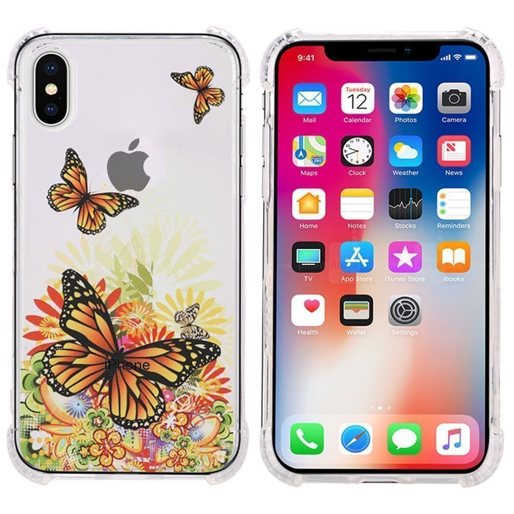 Apple iPhone X -  Gold Butterfly Design Bumper Case with Air Cushion Shock Absorption, Gold/Clear