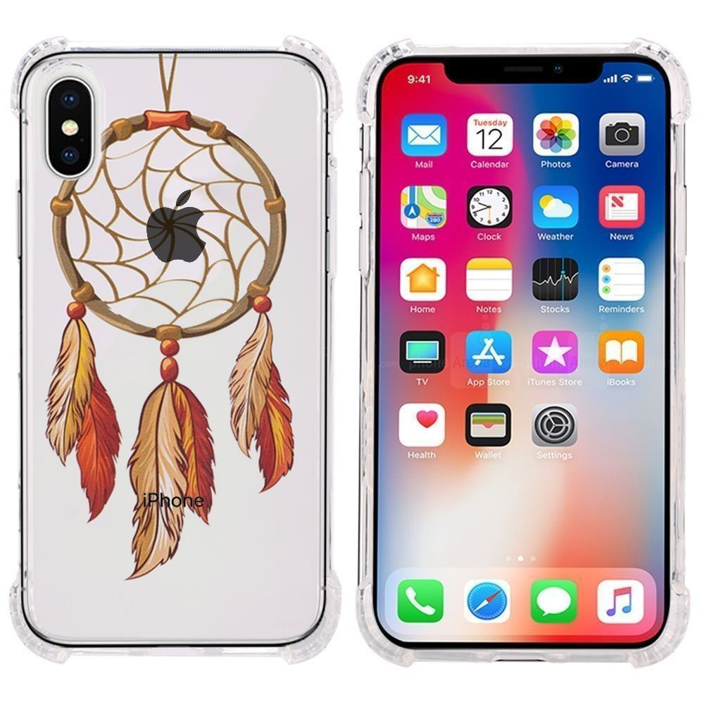 Apple iPhone X -  Gold Feather Design Bumper Case with Air Cushion Shock Absorption, Multi-Color/Clear
