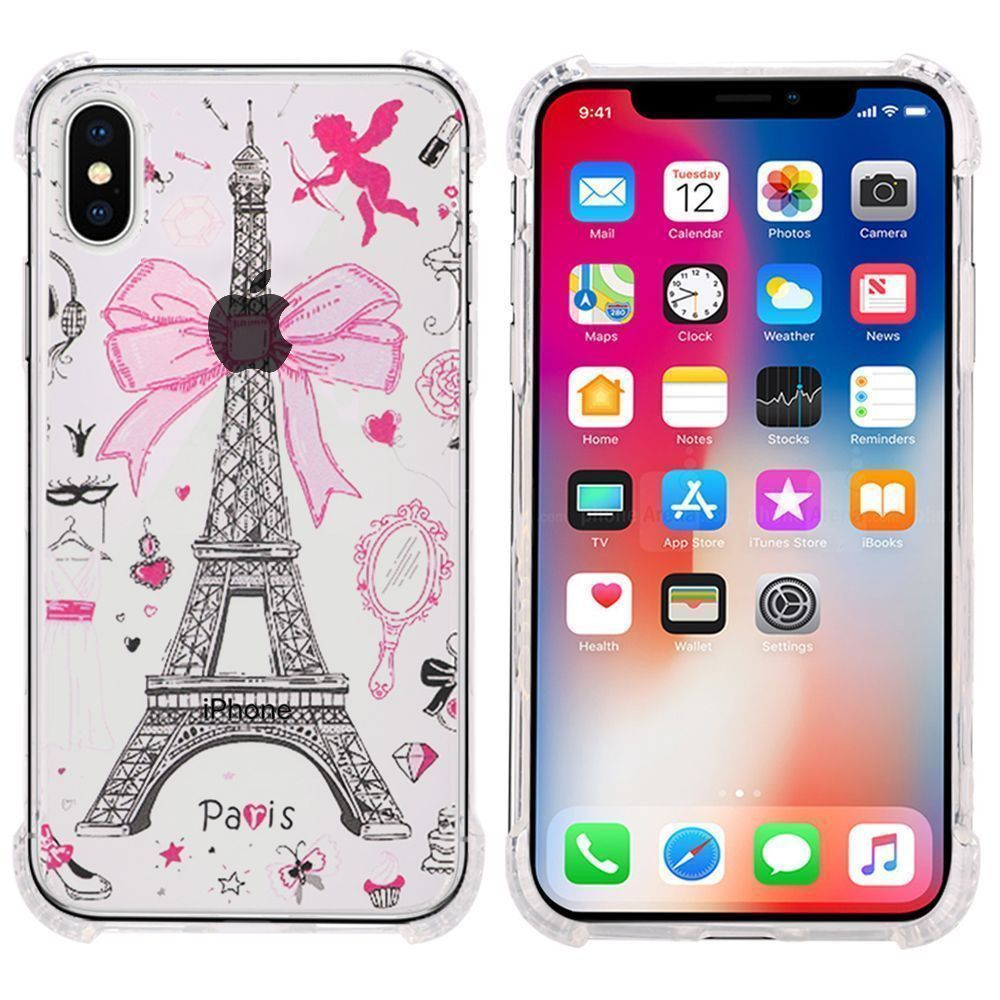 Apple iPhone X -  Paris Design Bumper Case with Air Cushion Shock Absorption, Pink/Clear
