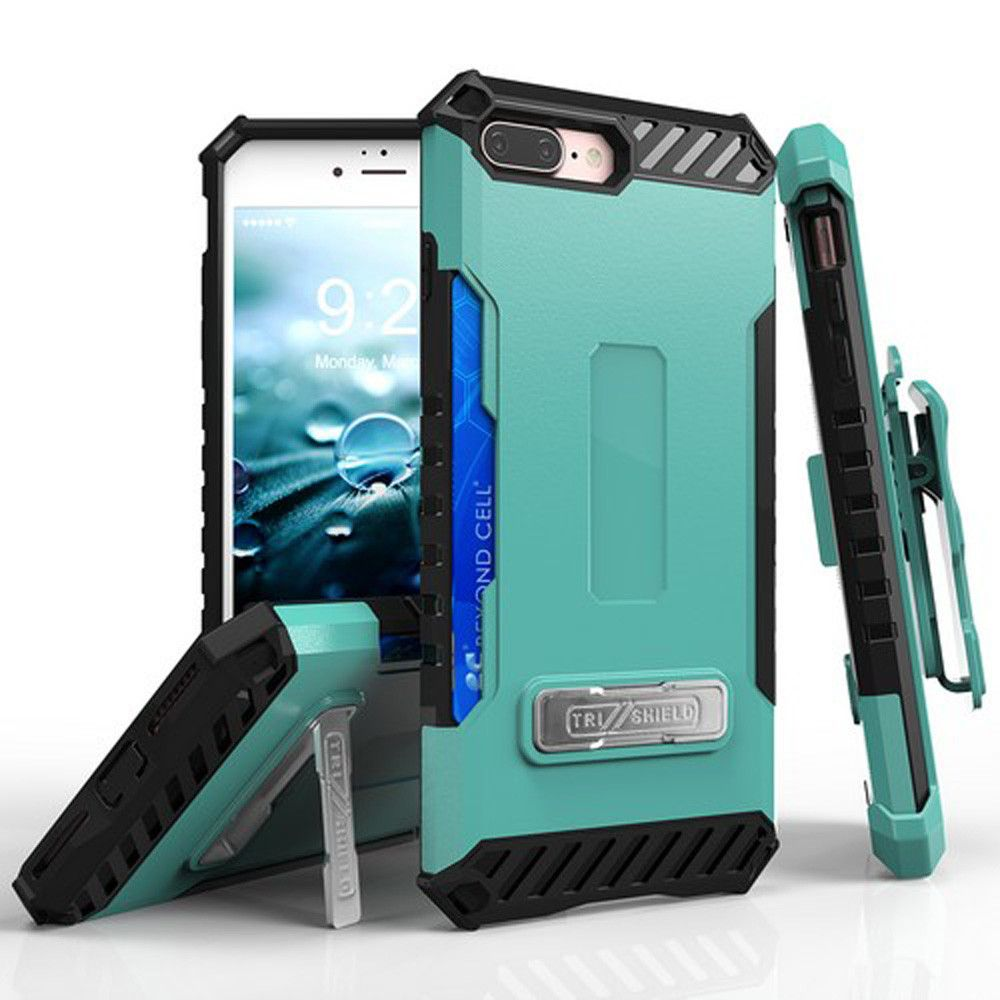 Apple iPhone 7 Plus - Tri Shield Kombo Rugged Case with Holster and Card Holder, Green/Black