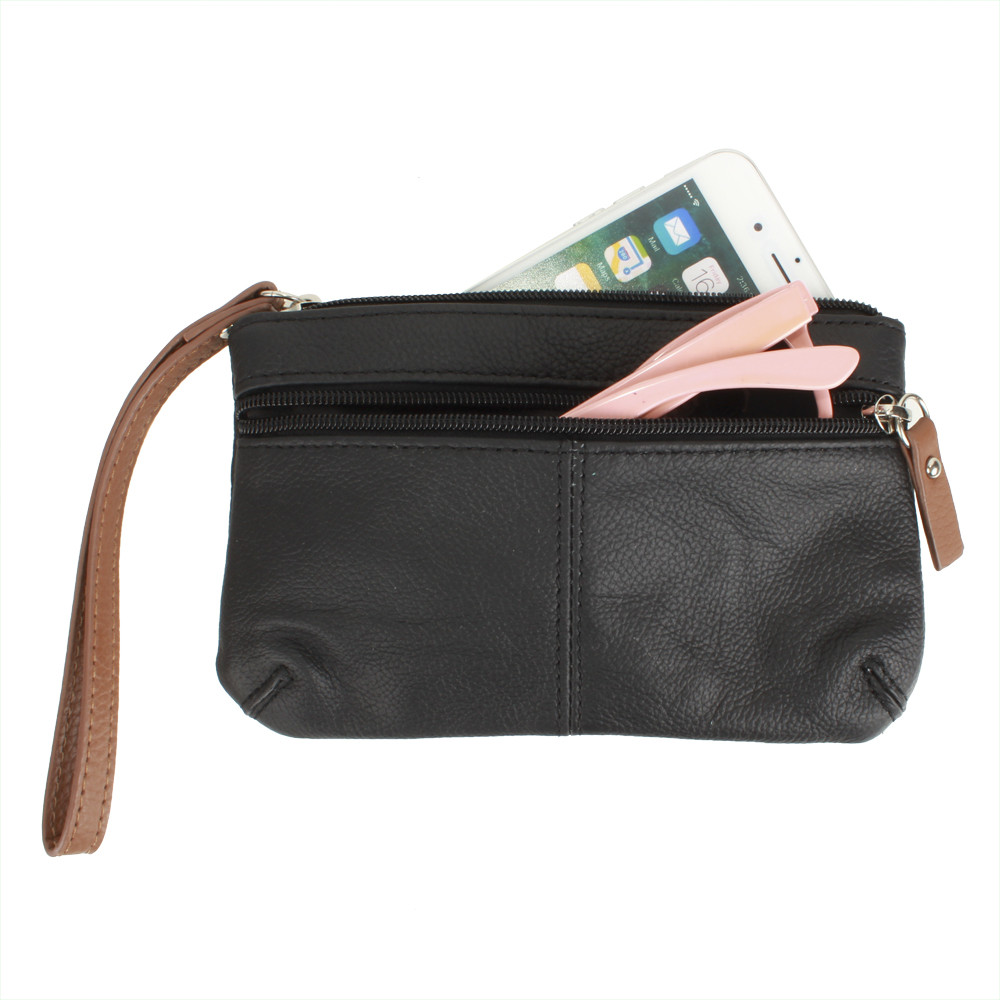 Apple iPhone 7 Plus -  Genuine Leather Hand-Crafted Phone Clutch with Wristlet, Black