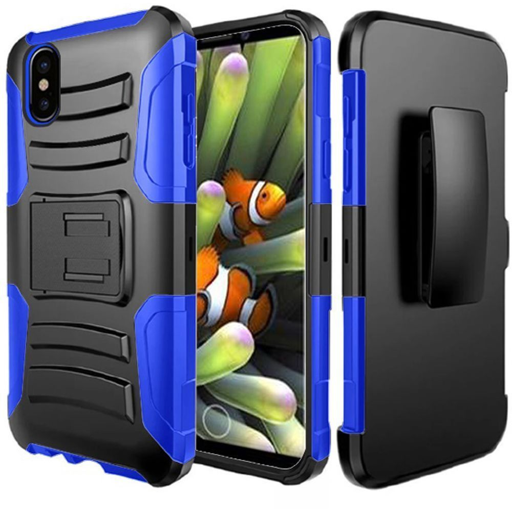 Apple iPhone X -  My.Carbon 3-in-1 Rugged Case with Holster, Black/Blue