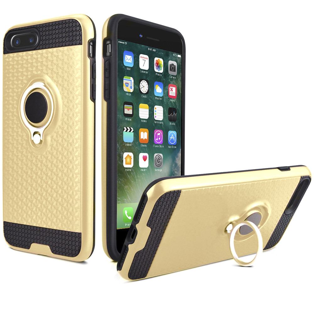 Apple iPhone 7 Plus -  Heavy-Duty Rugged Case with Hideaway Ring Holder Stand, Gold/Black