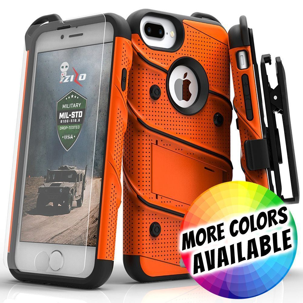 Apple iPhone 7 Plus -  Bolt Heavy-Duty Rugged Case, Holster and Screen Combo, Orange/Black
