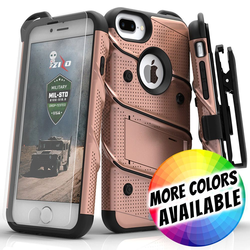 Apple iPhone 7 Plus -  Bolt Heavy-Duty Rugged Case, Holster and Screen Combo, Rose Gold/Black