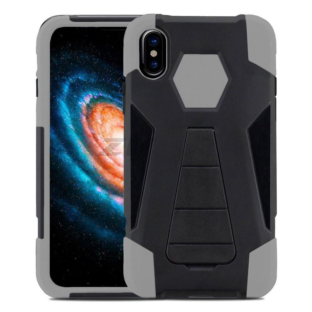Apple iPhone X -  Mighty Dual Layer Rugged Case with Kickstand, Black/Gray