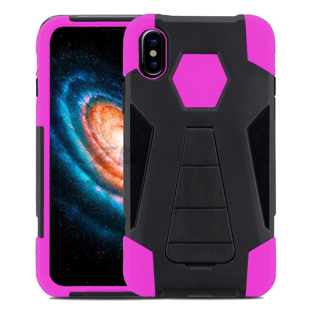 Apple iPhone X -  Mighty Dual Layer Rugged Case with Kickstand, Black/Pink