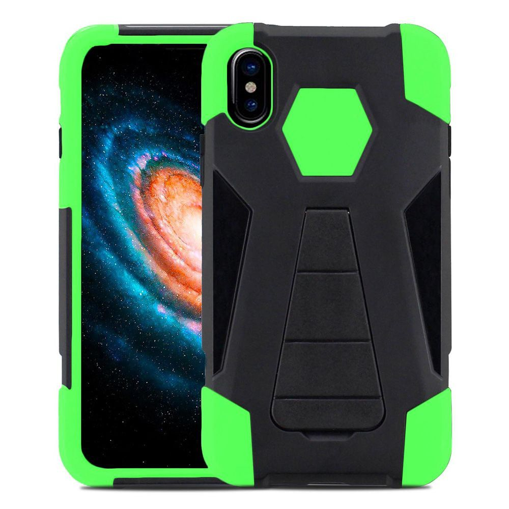 Apple iPhone X -  Mighty Dual Layer Rugged Case with Kickstand, Black/Neon Green