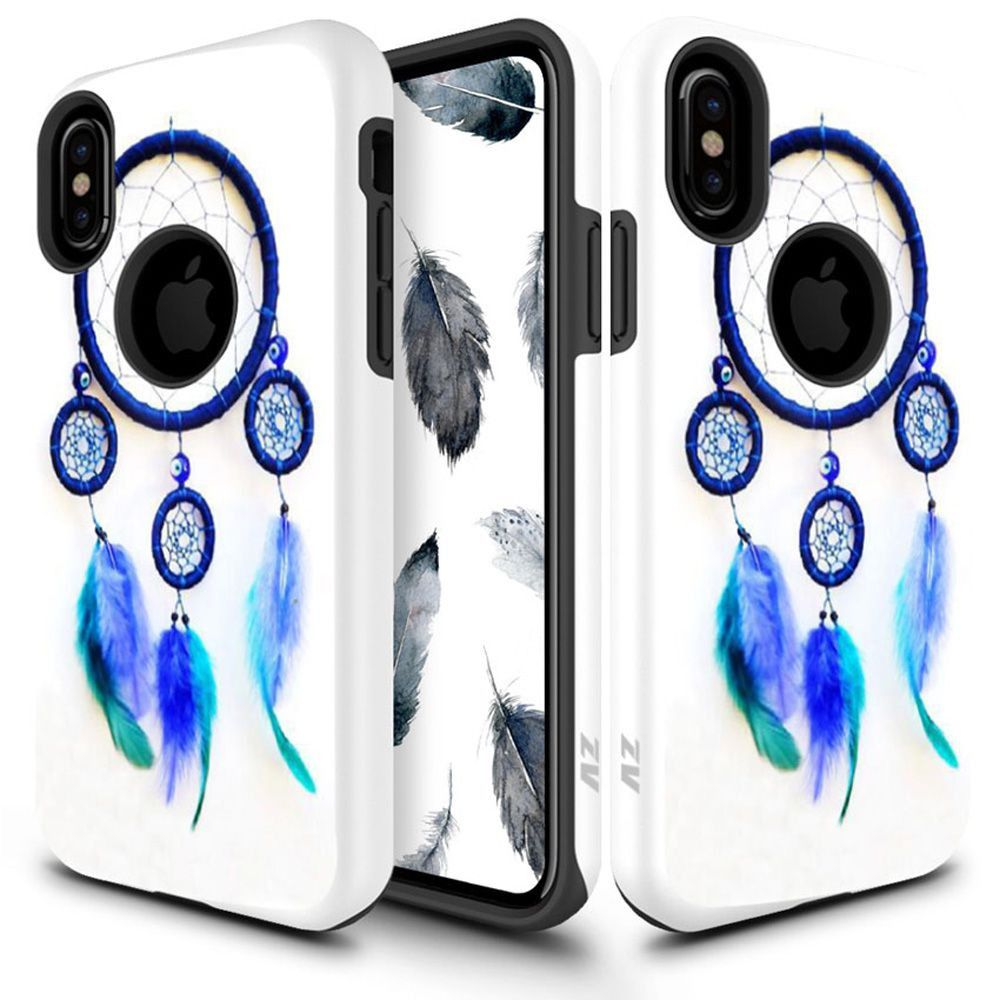 Apple iPhone X -  Dream Catcher Design Sleek Hybrid Dual Layer Rugged Case, White/Blue