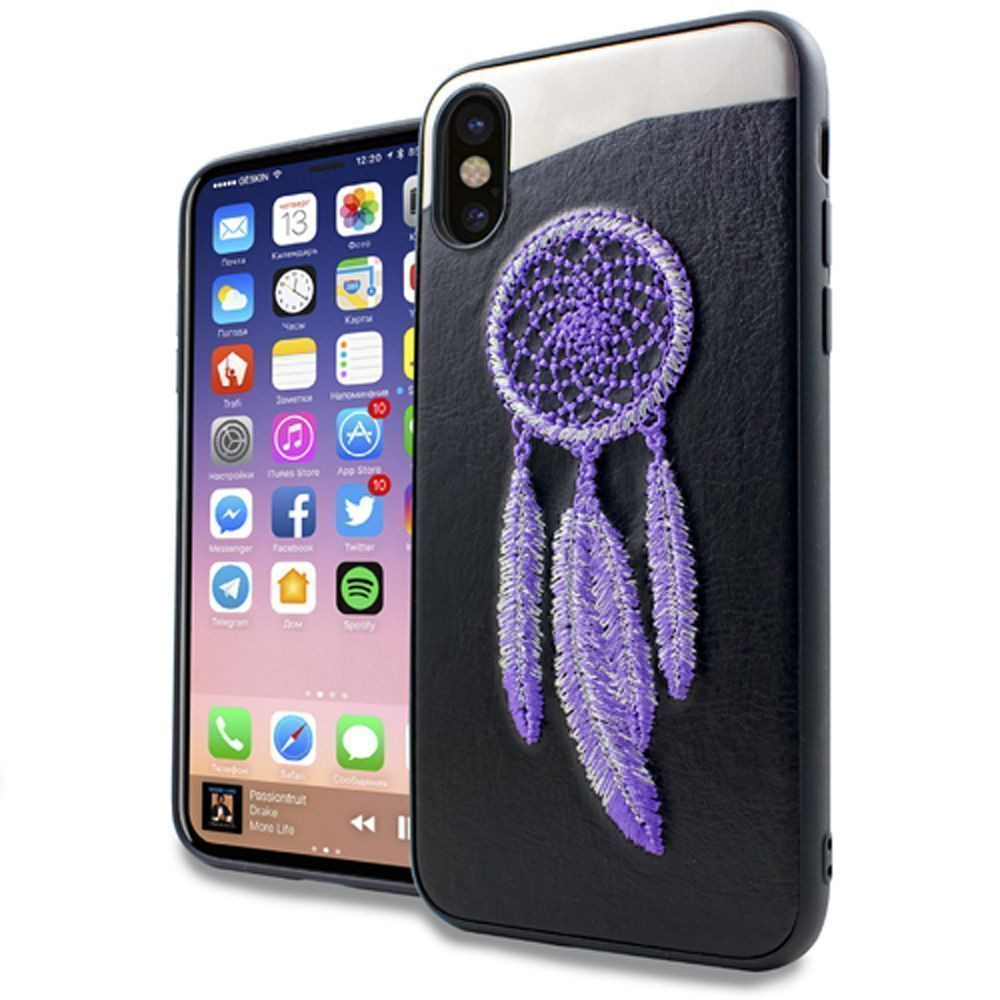 Apple iPhone X - Dream Catcher Embroidered Slim Fashion Case, Purple/Silver