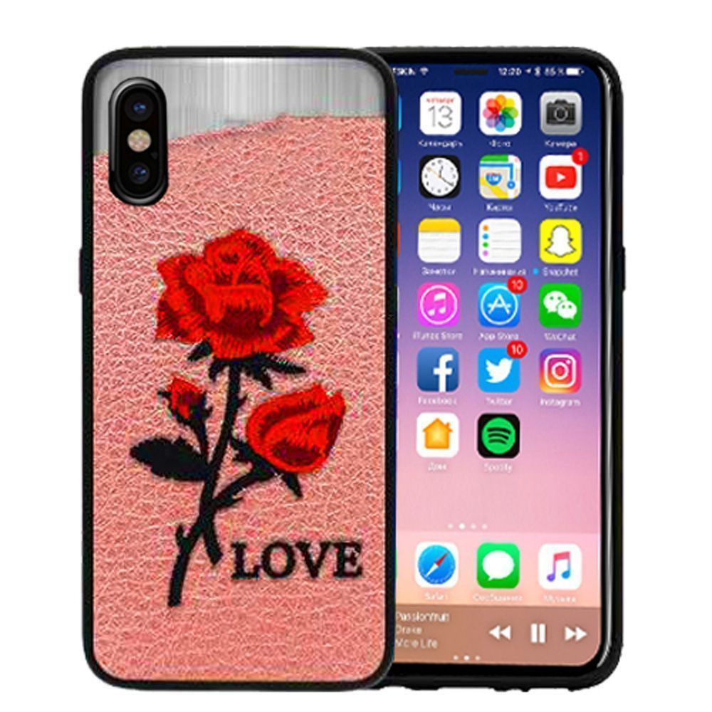 Apple iPhone X - Rose Embroidered Slim Fashion Case, Pink/Red