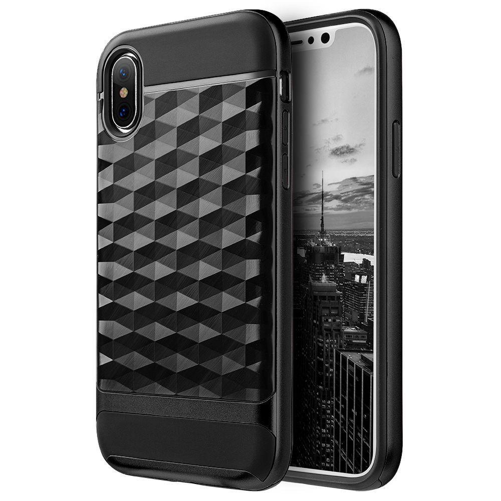 iPhone X - Geometric Textured Hybrid Rugged Case, Black