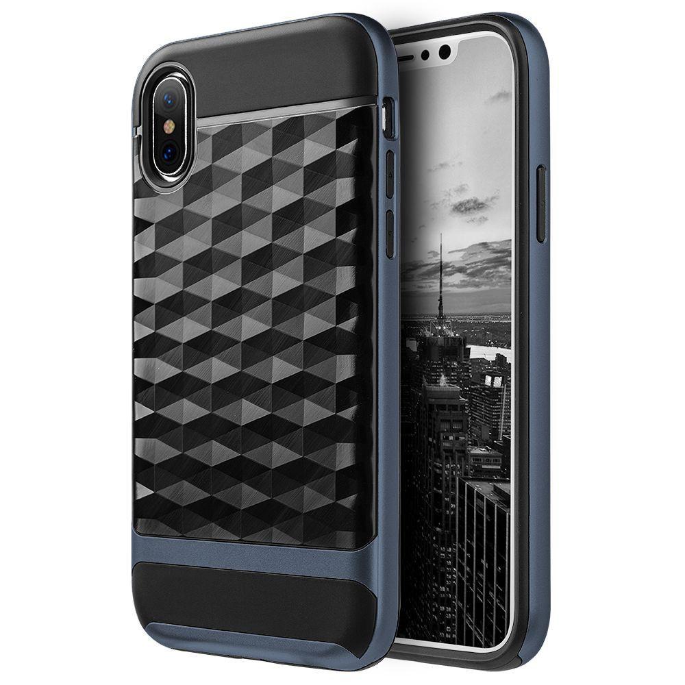 iPhone X - Geometric Textured Hybrid Rugged Case, Black/Navy Blue