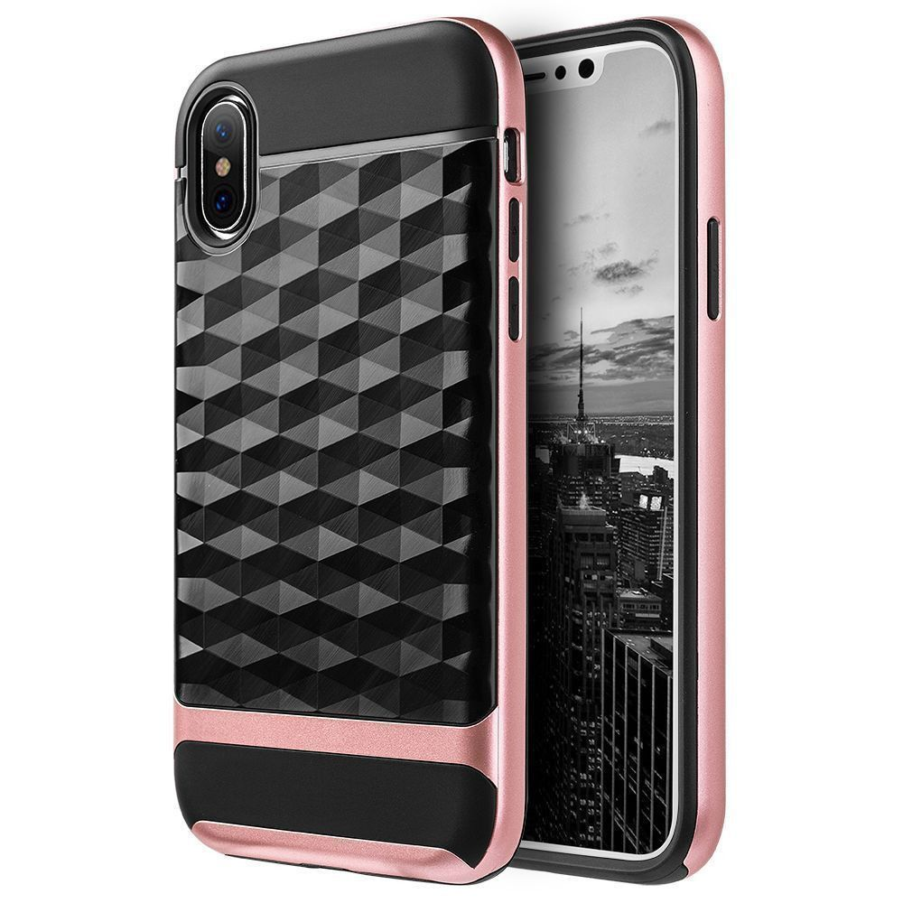 iPhone X - Geometric Textured Hybrid Rugged Case, Black/Rose Gold